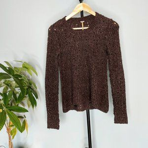 Brown Free People Crew Neck Sweater